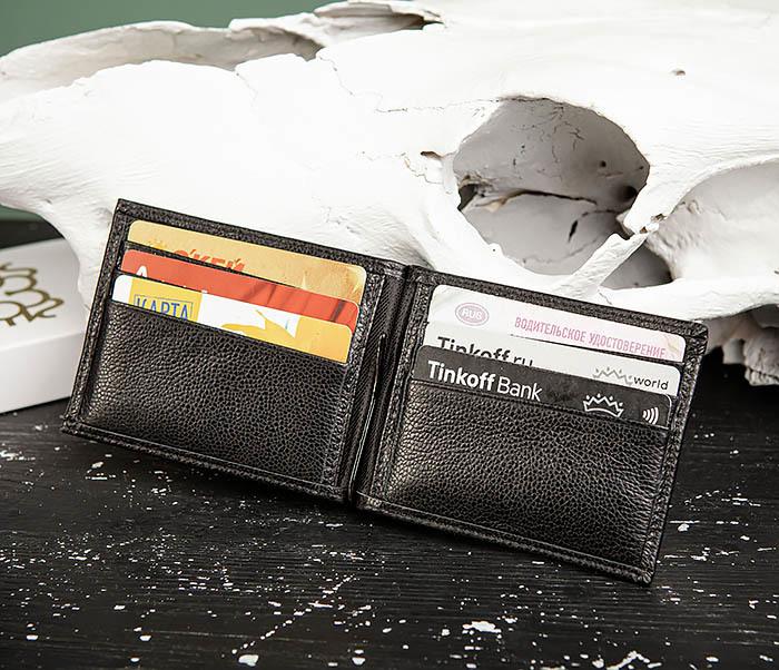 WL323-1 Стильный зажим для денег из черной кожи c монетницей, «Santini» фото 09