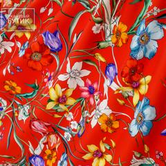 Красный матовый шелк с цветами