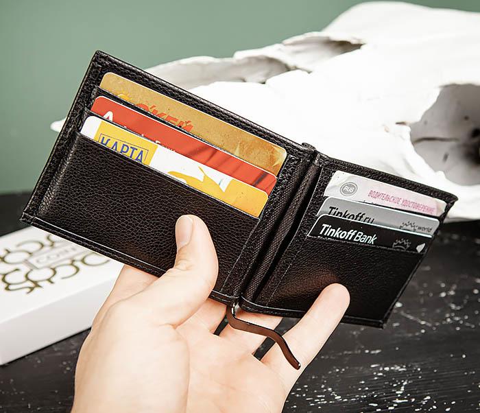WL323-1 Стильный зажим для денег из черной кожи c монетницей, «Santini» фото 10