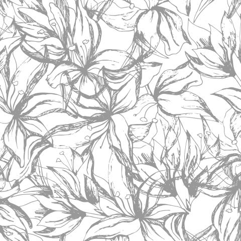 Серые контурные цветы