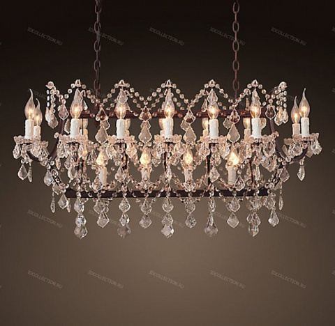 replica  19TH C. ROCOCO IRON & CLEAR CRYSTAL RECTANGULAR Restoration Hardware 68290057