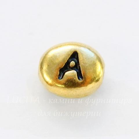 "Бусина овальная TierraCast ""Буква A"" 7х6х3 мм (цвет-античное золото)"