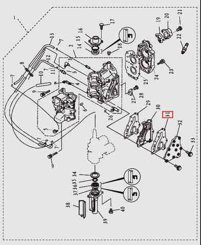 Прокладка выпуска для лодочного мотора T9.8 Sea-PRO (2-31)