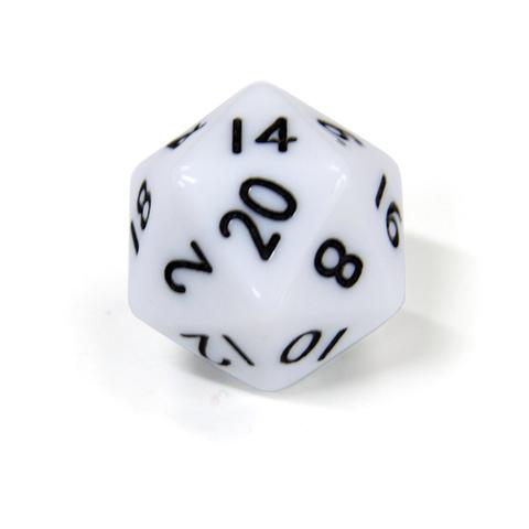 Белый двадцатигранный кубик (d20) для ролевых и настольных игр
