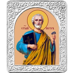 Святой Петр. Маленькая икона в серебряной раме.