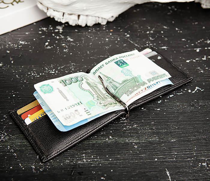 WL323-1 Стильный зажим для денег из черной кожи c монетницей, «Santini» фото 11