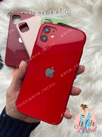 Чехол iPhone 11  Glass Pastel color logo /red/