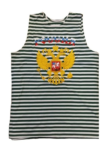 Майка-тельняшка ФПС с золотым гербом России (вышивка)