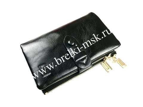Женский кошелек-трансформер из натуральной кожи. Цвет Черный