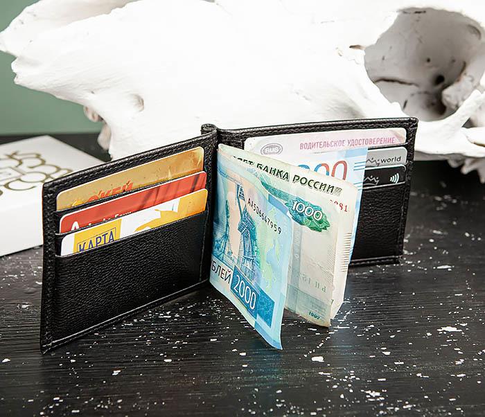 WL323-1 Стильный зажим для денег из черной кожи c монетницей, «Santini» фото 12