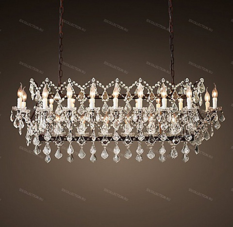 replica  19TH C. ROCOCO IRON & CLEAR CRYSTAL RECTANGULAR Restoration Hardware 68290140