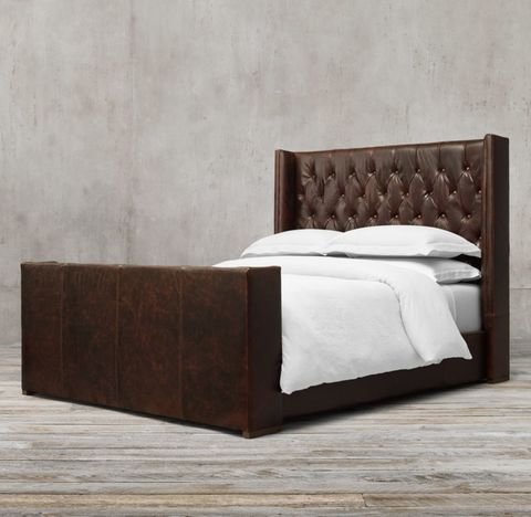 Adler Shelter Diamond-Tufted Leather Bed With Footboard