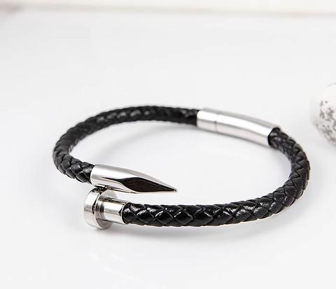 Мужской браслет «Гвоздь» из кожаного шнура и стали