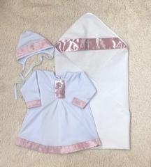 Крестильный комплект для девочки Великолепие розовый