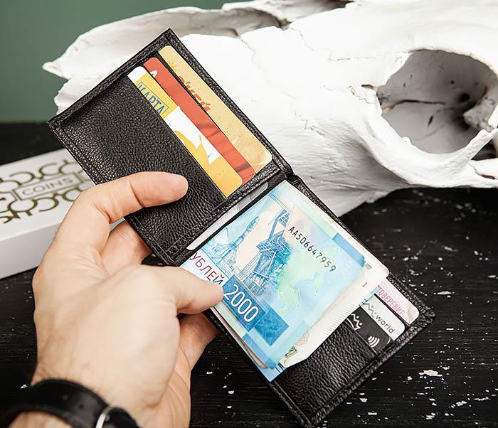 WL323-1 Стильный зажим для денег из черной кожи c монетницей, «Santini» фото 13