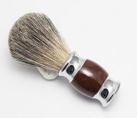 RAZ303-2 Помазок из волоса барсука с коричневой рукояткой
