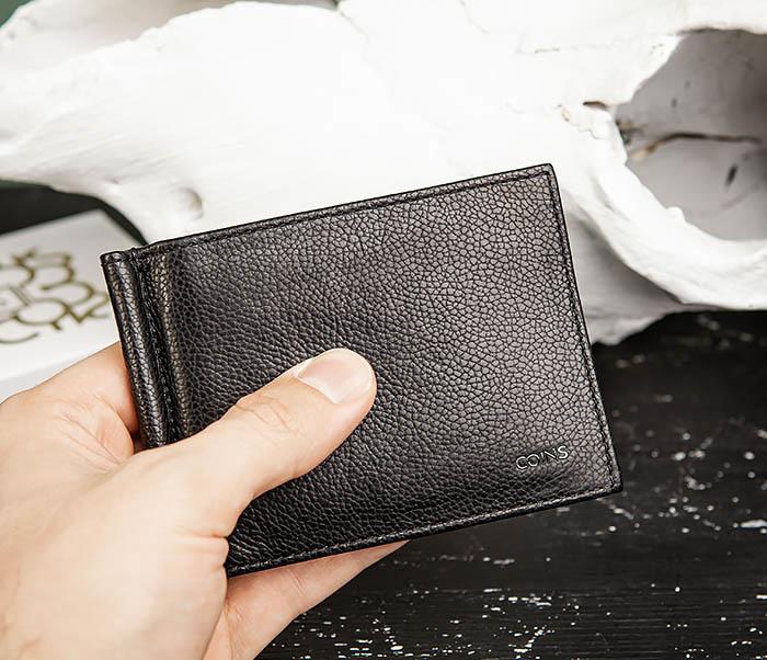 WL323-1 Стильный зажим для денег из черной кожи c монетницей, «Santini» фото 14