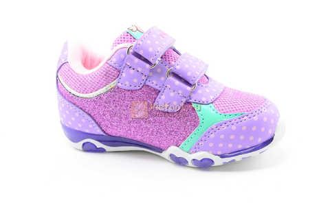 Светящиеся кроссовки для девочек Хелло Китти (Hello Kitty) на липучках, цвет сиреневый, мигает картинка сбоку. Изображение 2 из 12.