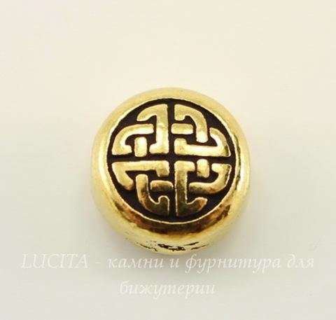 """Бусина плоская круглая TierraCast """"Кельтская"""" 10х5 мм (цвет-античное золото)"""