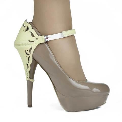 Автопятка для женской обуви на каблуке желтая с узорами
