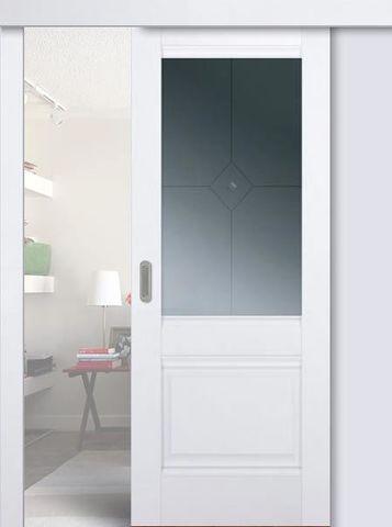 > Экошпон раздвижная Profil Doors № 2 U, стекло графит, цвет аляска, остекленная