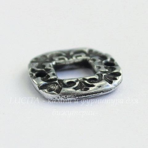 """Коннектор квардатный TierraCast """"Флора"""" (1-1) 15х15 мм (цвет-античное серебро)"""