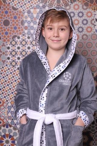 Football серый махровый халат для мальчика  с капюшоном Five Wien Турция