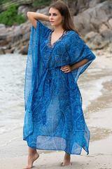 Длинная туника для пляжа синяя