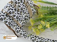 Лента репсовая с леопардовым принтом 25 мм (намотка 10 м)