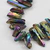 Бусина Кварц (тониров), продолговатая, цвет - бензиновый, 7-31 мм, нить
