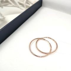 Серьги конго из золота с алмазной гранью Ø 30 мм арт.140046