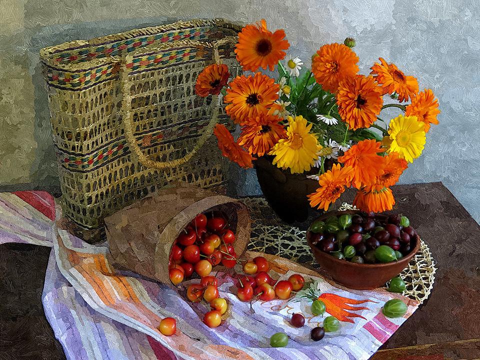 Картина раскраска по номерам 40x50 Корзина, ягоды и цветы ...