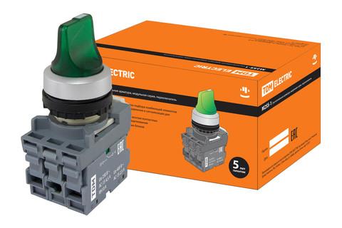 Переключатель на 3 положения с фиксацией M3SS1-21G короткая ручка(LED) d22мм/220B 1з+1р зеленый TDM