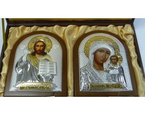 Подарочный набор (венчальная пара) Христа и Божьей Матери 16х12см, коричневое дерево, подарочная упаковка