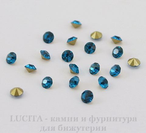 Стразы ювелирные (цвет - морская волна) 3,4 мм, 10 шт
