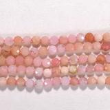 Нить Бисера из опала розового, шар граненый 3мм