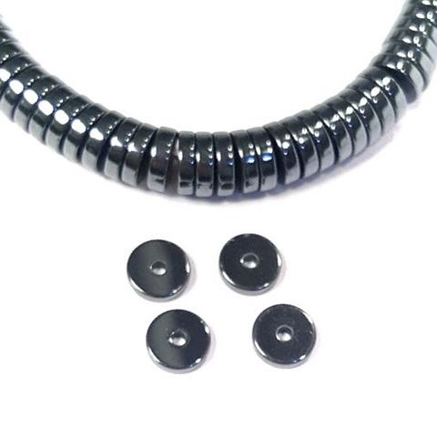 Бусины гематит рондель плоский 8 х 2 мм черный 1 штука