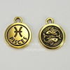 """Подвеска TierraCast знак зодиака """"Рыбы"""" (цвет-античное золото) 19х15 мм"""