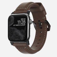 Ремешок Nomad Traditional Strap для Apple Watch 44mm/42mm кожа темно-коричневый, застежка черный