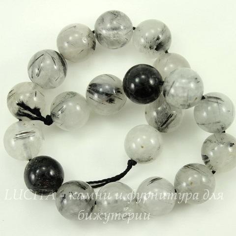 Бусина Кварц Рутиловый, шарик, цвет - прозрачно-серый, 10 мм, нить
