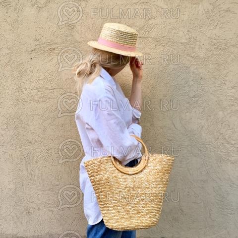 Сумка плетеная соломенная женская летняя