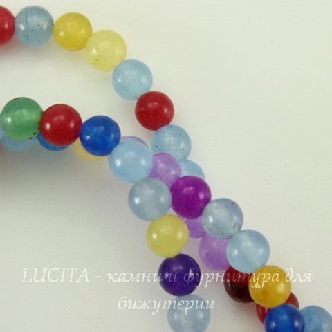 """Бусина Жадеит (тониров), шарик, """"Разноцветный микс"""", 4 мм, нить"""