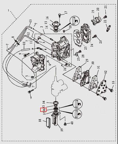Сальник коленвала нижний 20x36x7 для лодочного мотора T9.8 Sea-PRO (2-36)