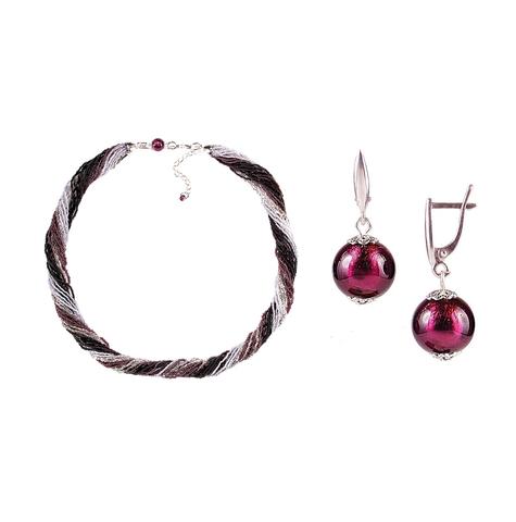 Комплект украшений черно-фиолетовый №2 (серьги-бусины, ожерелье из бисера 24 нити)
