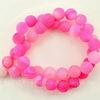 Бусина Агат цветочный матовый (тониров), шарик, цвет - розовый, 10 мм, нить