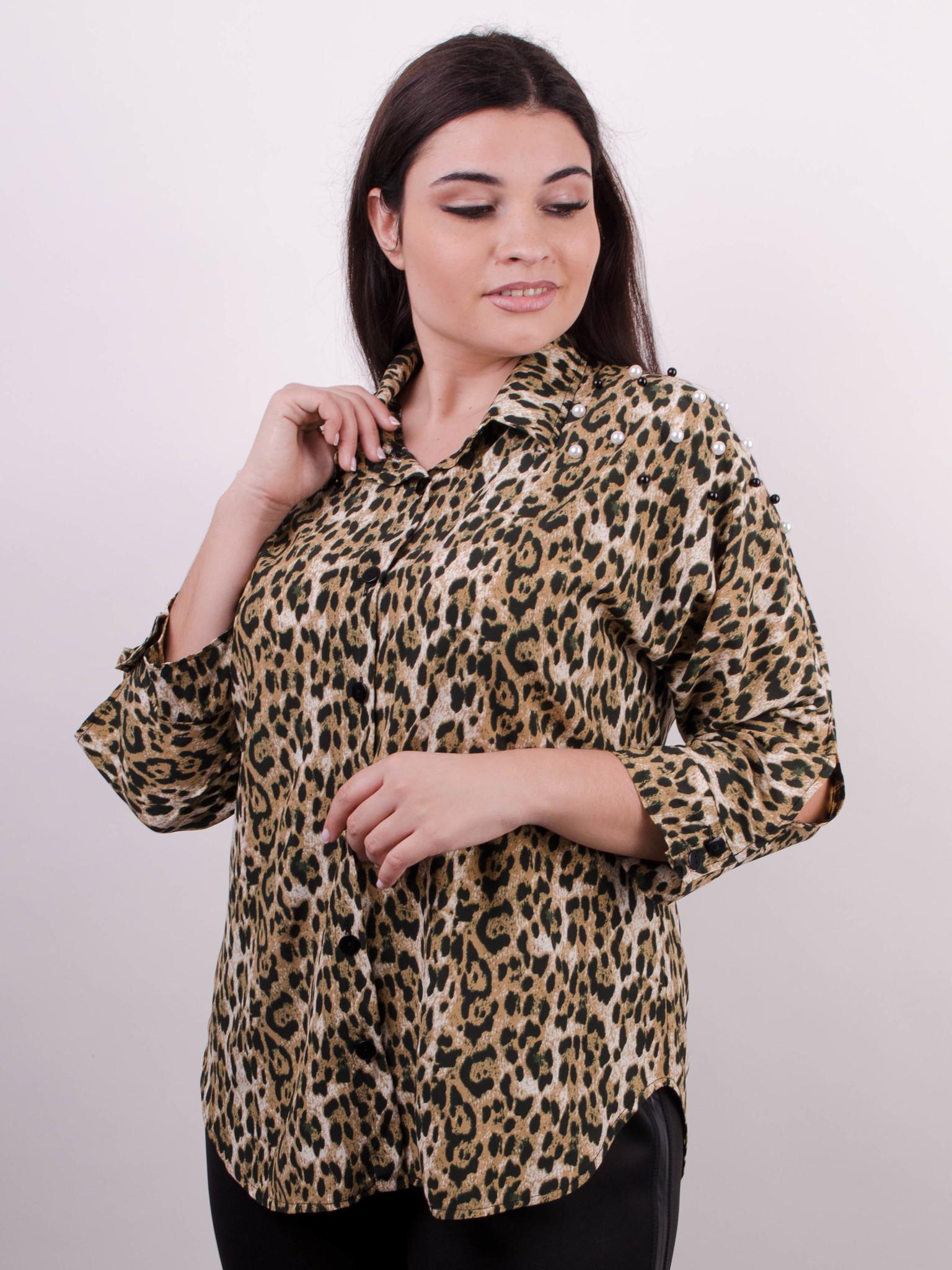 4b9180dfb0daf61 Магда. Стильная женская рубашка больших размеров. Леопард желтый ...