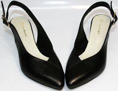Женские летние туфли на низком каблуке Kluchini 5190 Black.