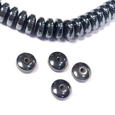 Бусины гематит рондель скругленный 8 мм черный 1 штука