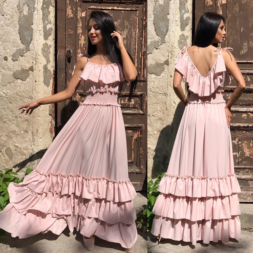 5c05087410d Длинное летнее платье с воланами
