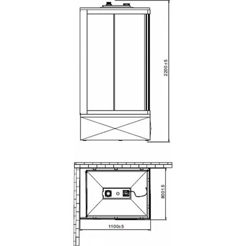 Душевая кабина Orans OLS-SR86152L/R 80x110см. профиль белый, стекло прозрачное, универсальная схема